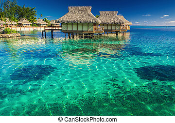 Villas in the lagoon with steps into shallow water with...