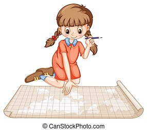 Girl plotting on map illustration