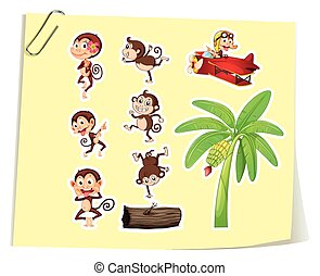 Monkeys and banana tree illustration