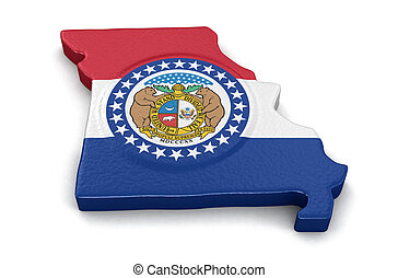 Map of Missouri state with flag
