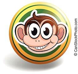 Monkey on round badge