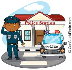 Policeman saluting in front of police station illustration