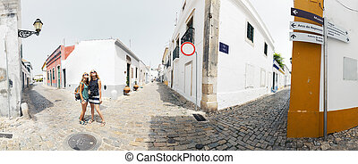 Faro, Portugal - Two ladies on the street of the city of...