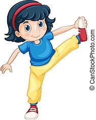 Girl doing exercising alone illustration