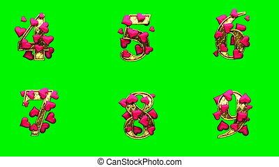 loop golden alphabet with hearts