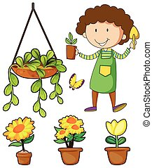 Gardener and potted plants