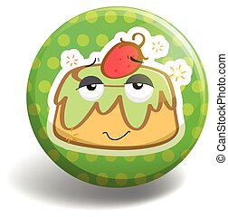 Custard cake on badge illustration