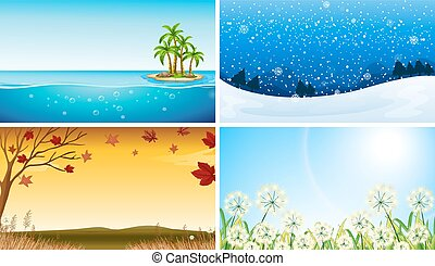 Four view of different seasons
