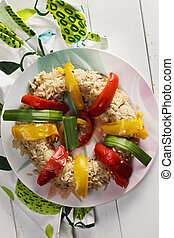 Risotto with peppers above view - Risotto with oven-baked...