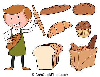 Flashcard of baker with bread