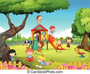 Children playing in the playground illustration