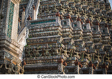 Wat Po Temple in Thailand. architectural details