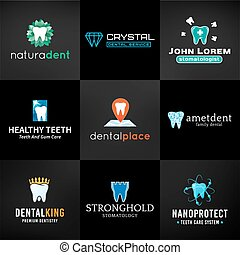 Set of tooth logos.  Oral care symbols collection. Vector teeth designs. Bright dental clinic template. Creative health concept on dark background