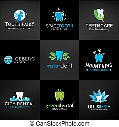 Set of dental logos. Vector tooth designs. Teeth clinic template. Creative health concept. Oral care symbols collection on dark background