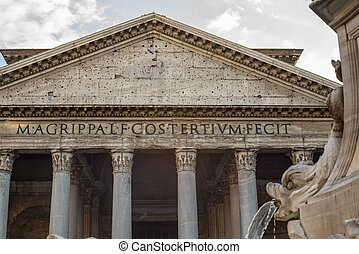 Pantheon - pantheon view and particular of the ancient...