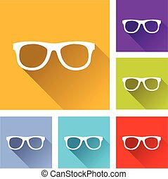 glasses icons - illustration of colorful square glasses...