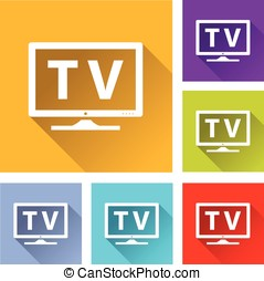 tv icons - illustration of colorful square tv icons set