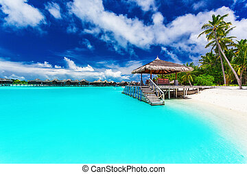 Jetty and palm trees with steps into tropical blue lagoon