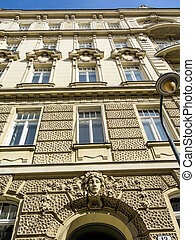 nice old house in vienna - a figure adorns a beautiful house...