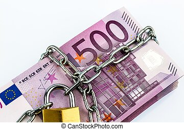 euro notes with chain and padlock