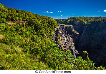 Barron Falls and Kuranda Scenic Railways, Queensland,...