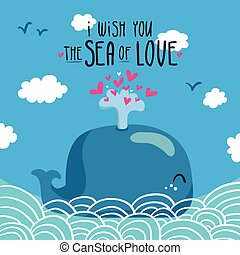 Whale with fountain of hearts - Cute illustration of whale...