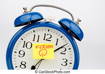 alarm clock on holiday start - insights with a sticky notes...