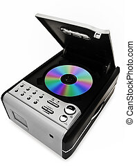 cd player - modern digital cd player with disc against the...