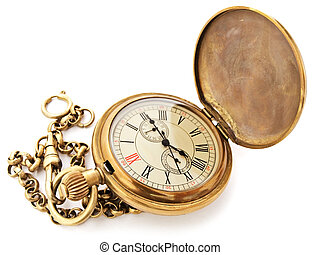 vintage pocket clock - old opened vintage pocket clock...
