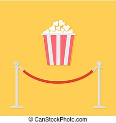 Red rope barrier stanchions turnstile Popcorn. Cinema icon...