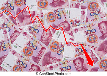 Graft showing the decline of the Chinese Yuan or RMB over a...