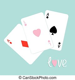 Poker playing card combination with ace of spade, diamond...