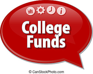 College Funds Business term speech bubble illustration -...