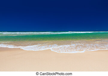 Beach on the east side of Bribie Island, Queensland,...