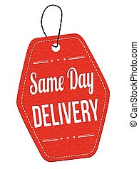 Same day delivery label or price tag - Same day delivery red...