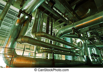 Industrial zone, Steel pipelines, valves and pumps -...