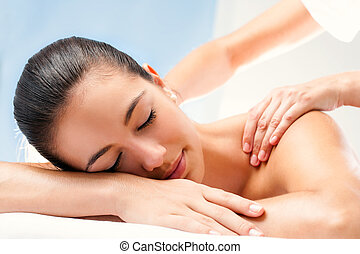 Young woman enjoying spa treatment - Close up of Young woman...