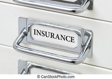 Låda, kabinett, försäkring, Etikett