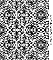 Damask Seamless Vector Black and White Pattern