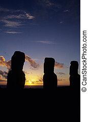 Moai- Easter Island, Chile - Moai statues at Ahu Akivi is an...