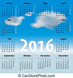 German Calendar for 2016 year with clouds