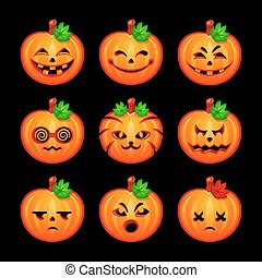 Pumpkin emotions - Colorful pumpkin emotional faces for...