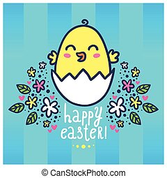 Easter greeting card with a chick