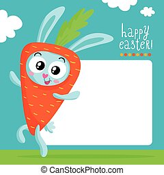 Easter card design, bunny as carrot - Easter greeting card...