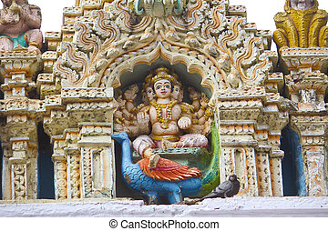 God Skanda - Sculpture of the Hindu God Skanda, or...