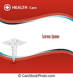 Abstract medical background with caduceus medical symbol....