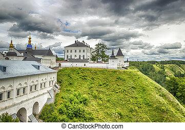 Tobolsk Kremlin panorama menacing sky  Russia Siberia Asia