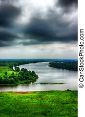 River Kama evening storm clouds top view of Tatarstan, Yelabuga Russia