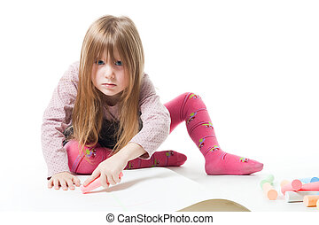 Little girl don\'t wont to be disturb while drawing with...