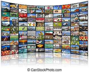 Video wall of TV screen - A variety of images as a big video...